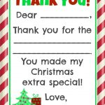 Fill In The Blank Christmas Thank You Cards Free Printable   Free Christmas Thank You Notes Printable
