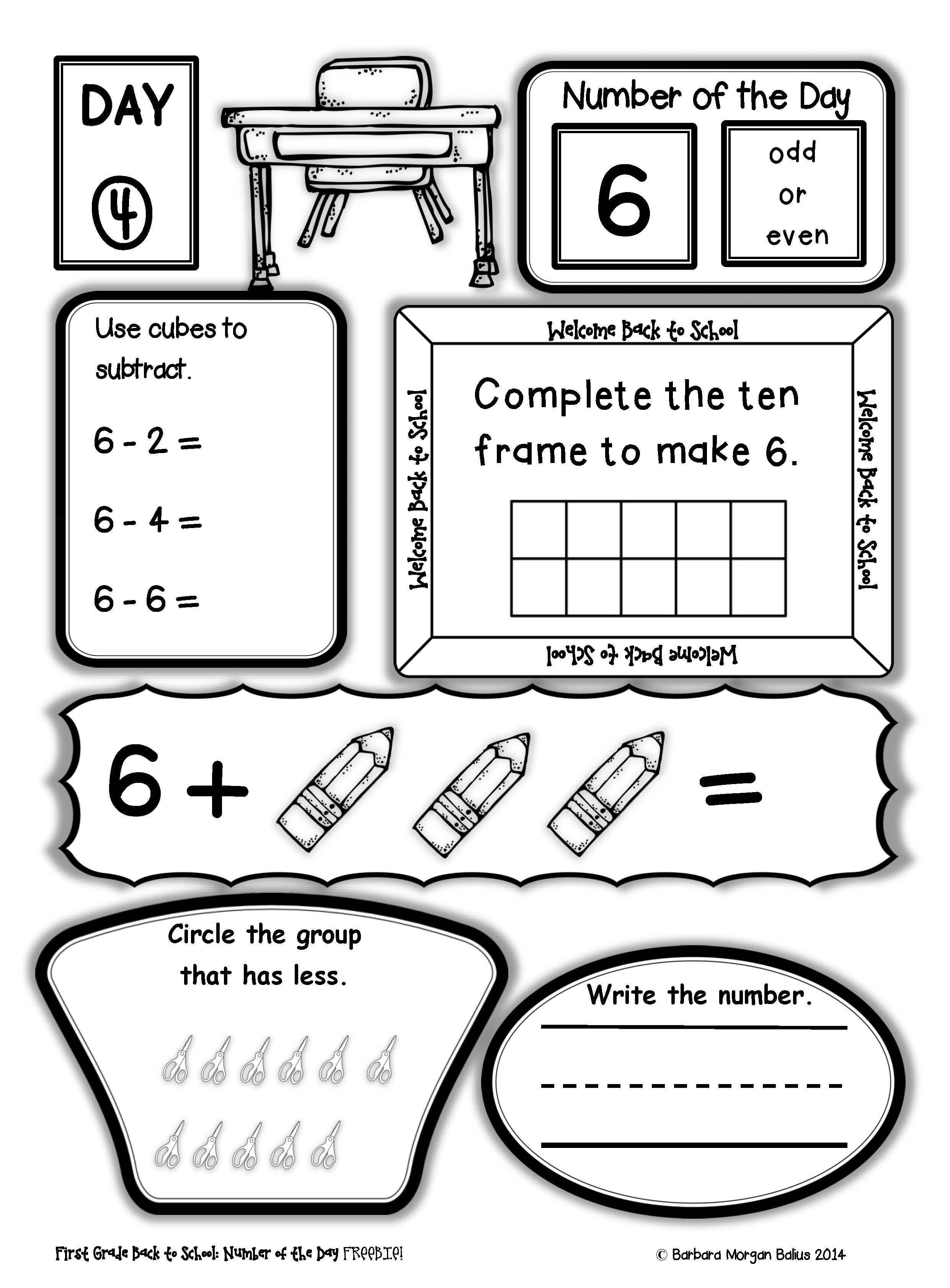 First Grade Back To School Number Of The Day Freebie! All Students - Free Printable Number Of The Day Worksheets