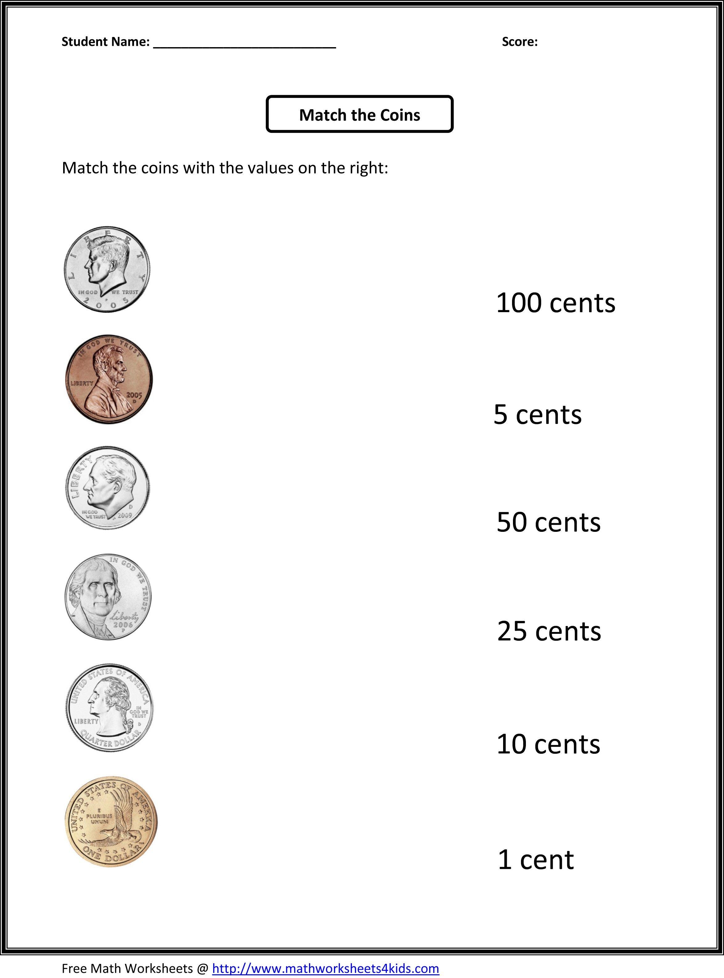 First Grade Money Worksheets Free Printable   Education (For The - Free Printable Money Worksheets For 1St Grade