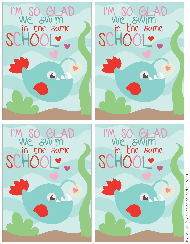 Fish School Printable Valentine Card - Mommy's Bundle - Free Printable School Valentines Cards