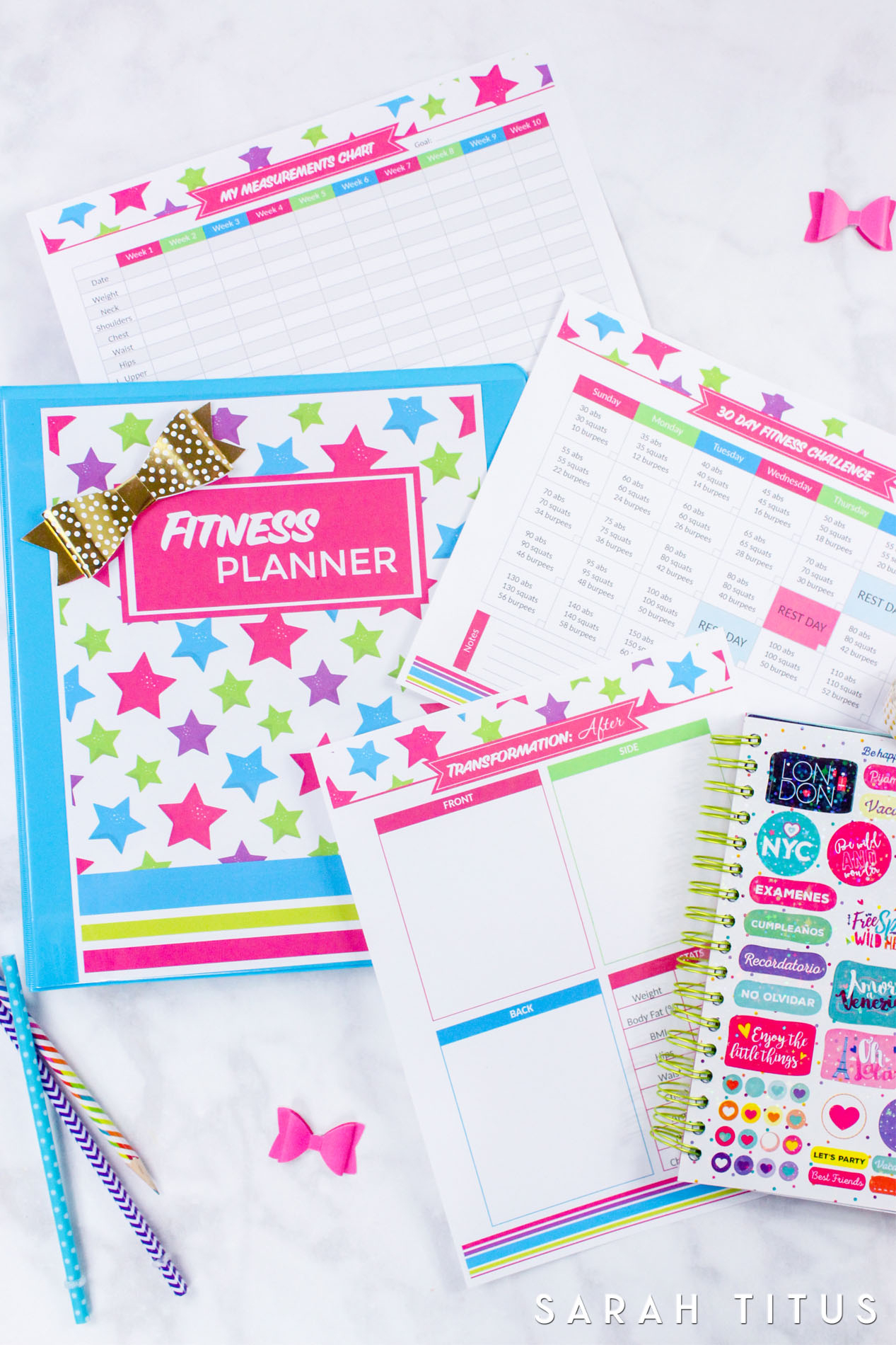Fitness Planner - Sarah Titus - Free Printable Fitness Planner