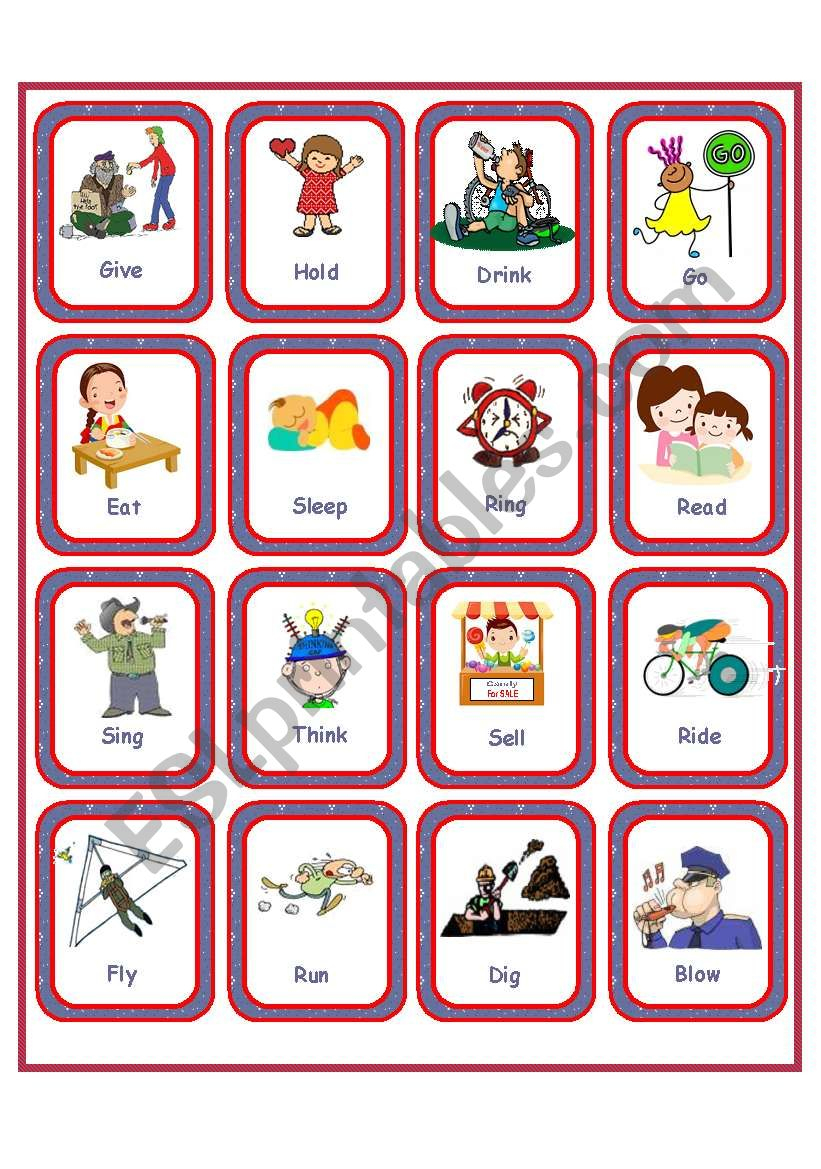 Flashcards - Irregular Verbs - Set 1 - Esl Worksheetanna P - Irregular Verbs Flashcards Printable Free
