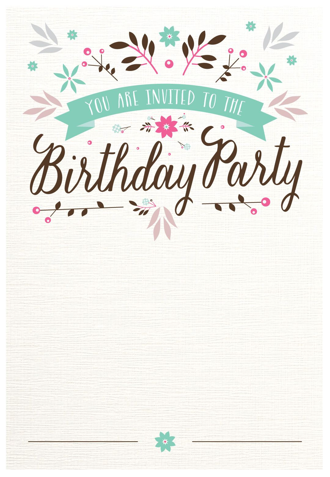 Flat Floral - Free Printable Birthday Invitation Template - Free Printable Birthday Invitation Cards Templates
