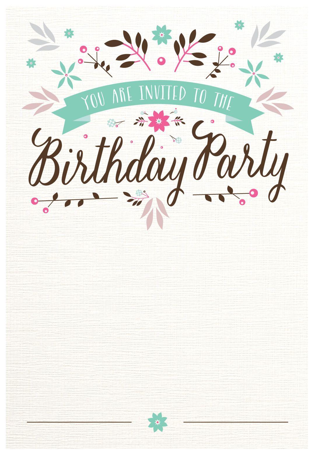 Flat Floral - Free Printable Birthday Invitation Template - Free Printable Birthday Invitations