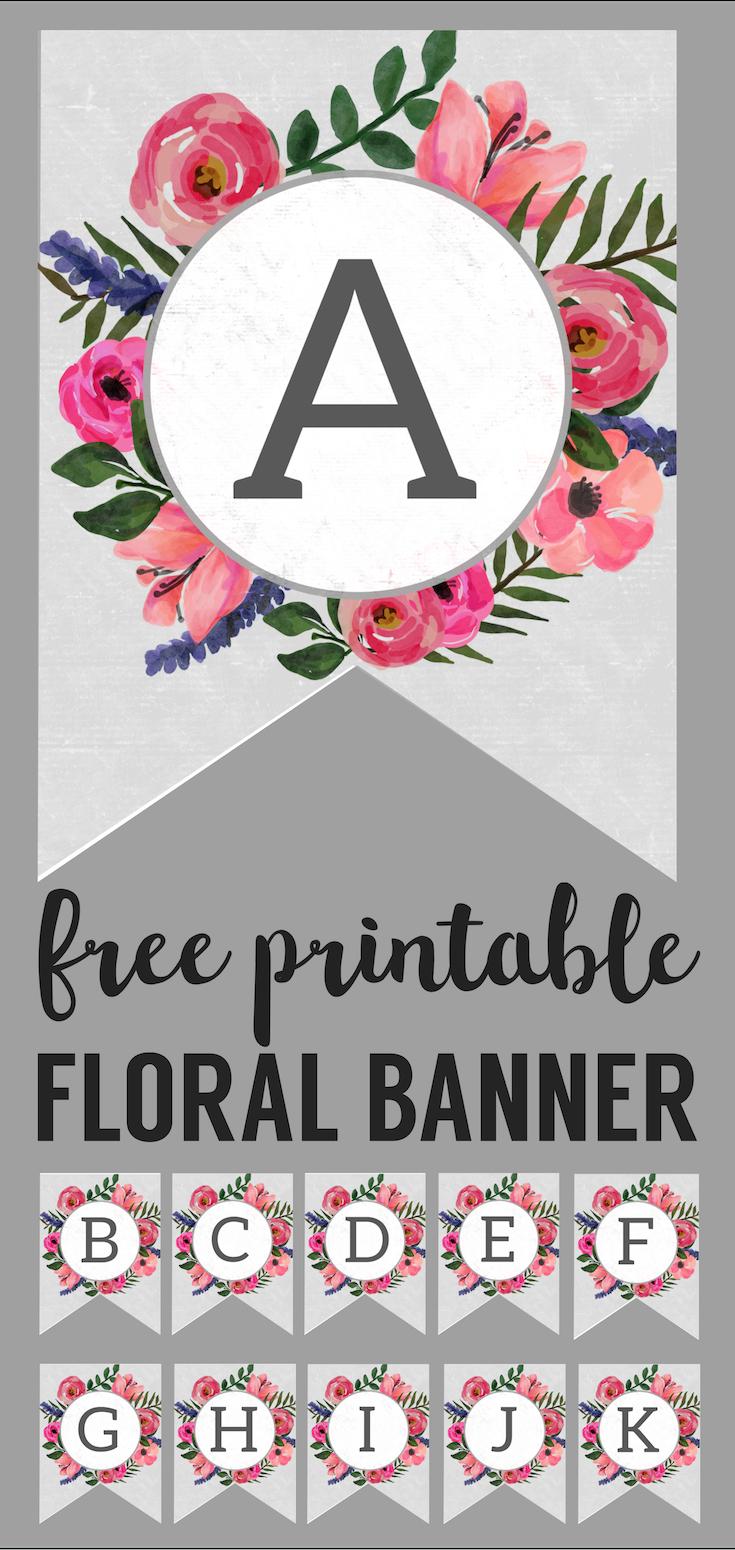 Floral Alphabet Banner Letters Free Printable | Printable Tags - Free Printable Flower Letters