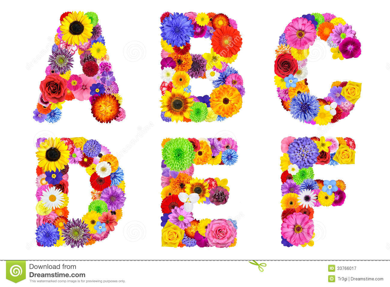Floral Alphabet Isolated On White - Letters A, B, C, D, E, F Stock - Free Printable Flower Letters