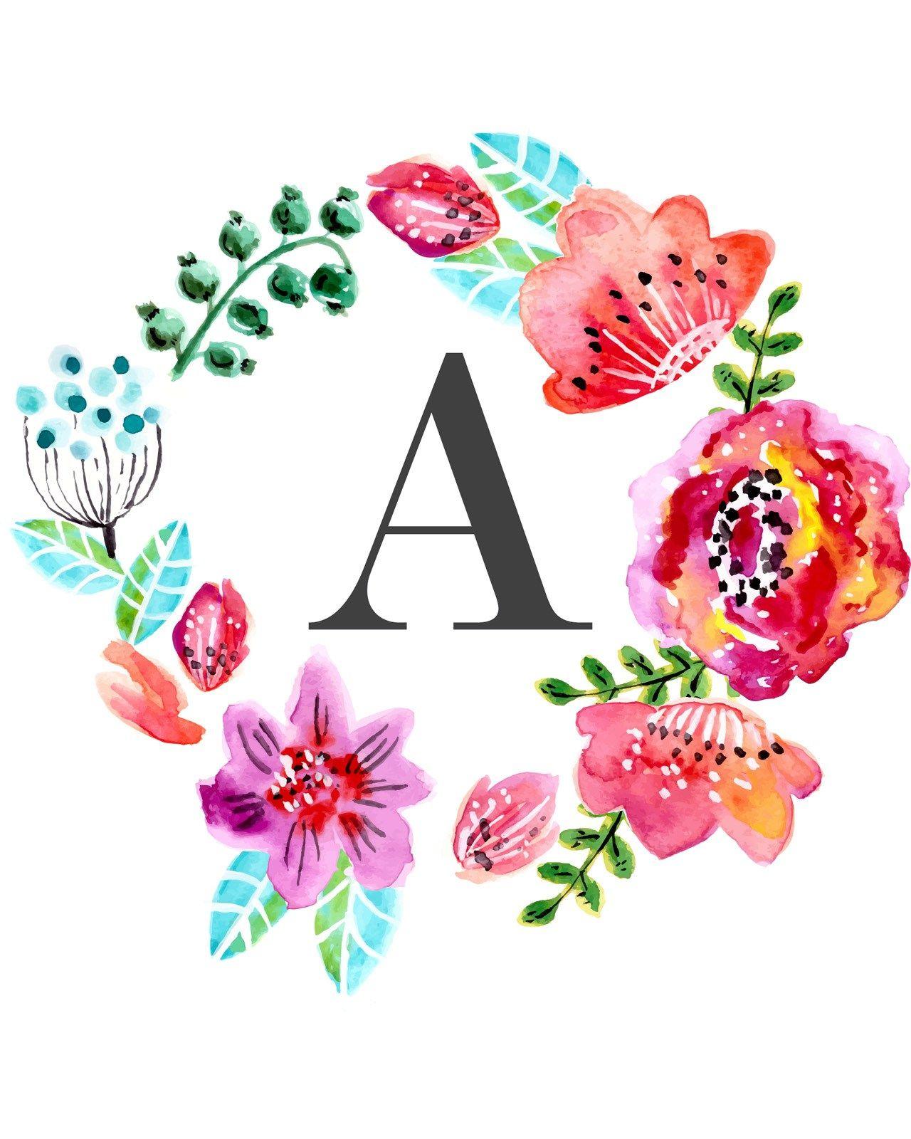 Floral Monogram Free Printable | Wall Art Printables | Monogram Wall - Free Printable Flower Letters