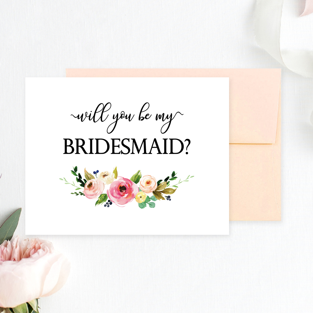 Floral Will You Be My Bridesmaid Printable Cards - Chicfetti - Free Printable Will You Be My Bridesmaid Cards