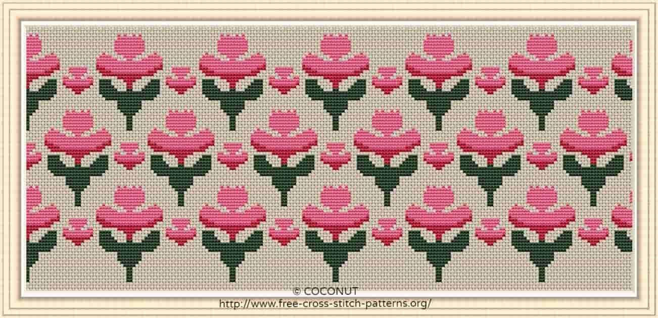 Flower Border (14) , Free And Easy Printable Cross Stitch Pattern - Free Printable Cross Stitch Patterns Flowers