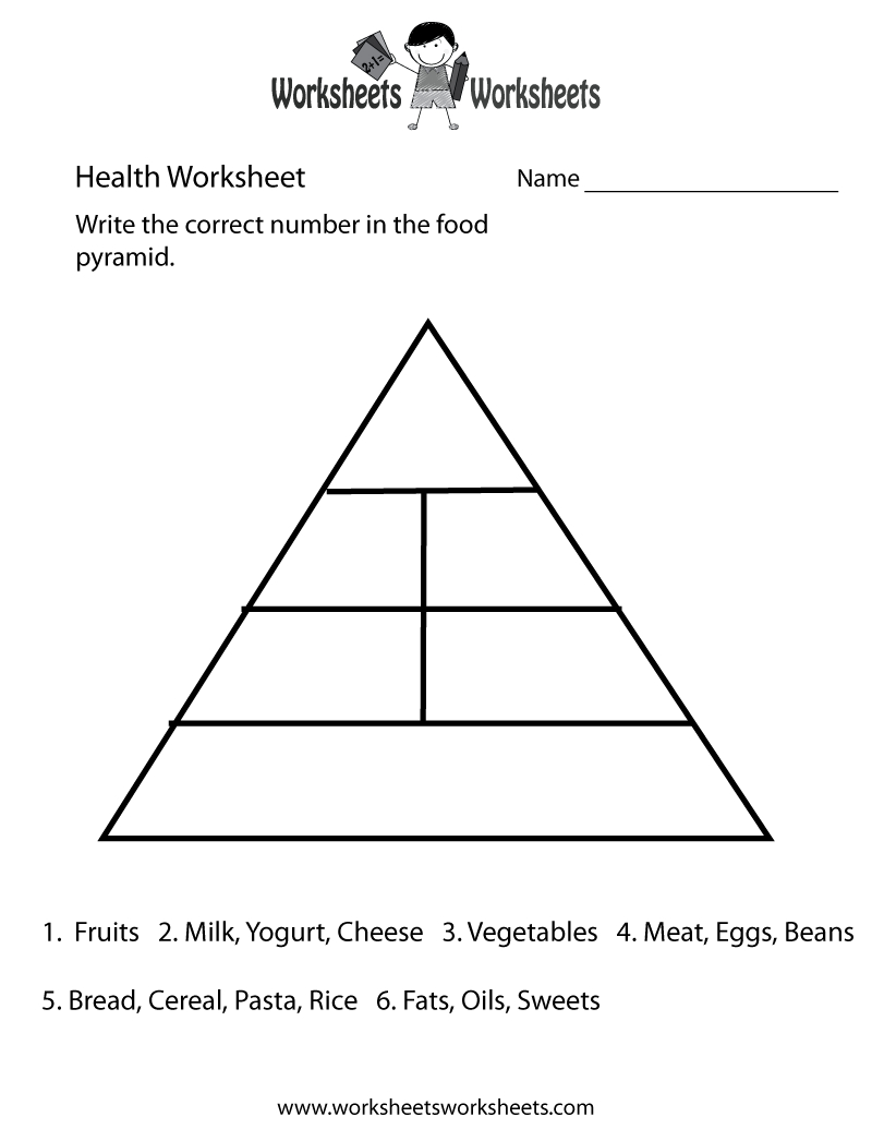 Food Pyramid Health Worksheet Printable | Church | Food Pyramid - Free Printable Food Pyramid