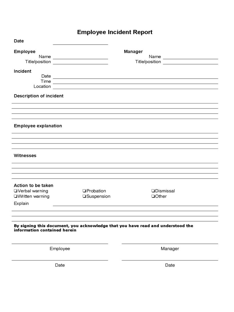 Form: Printable Injury Form Template. Injury Form Template - Free Printable Incident Report Form