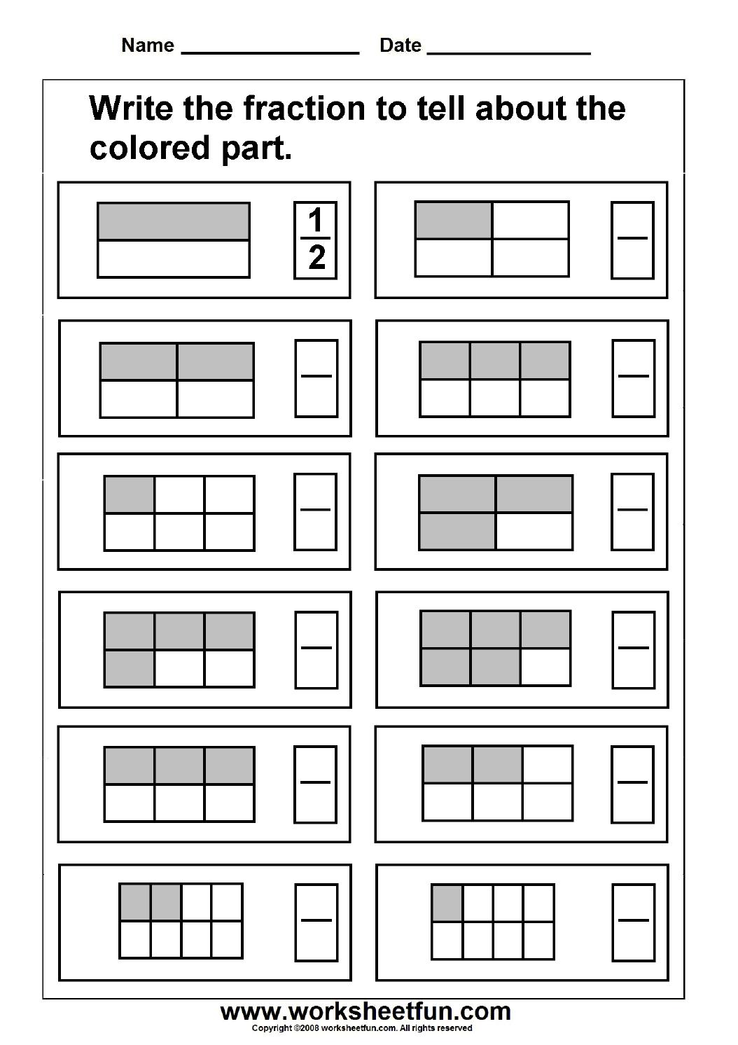 Fraction / Free Printable Worksheets – Worksheetfun - Free Printable Fraction Worksheets