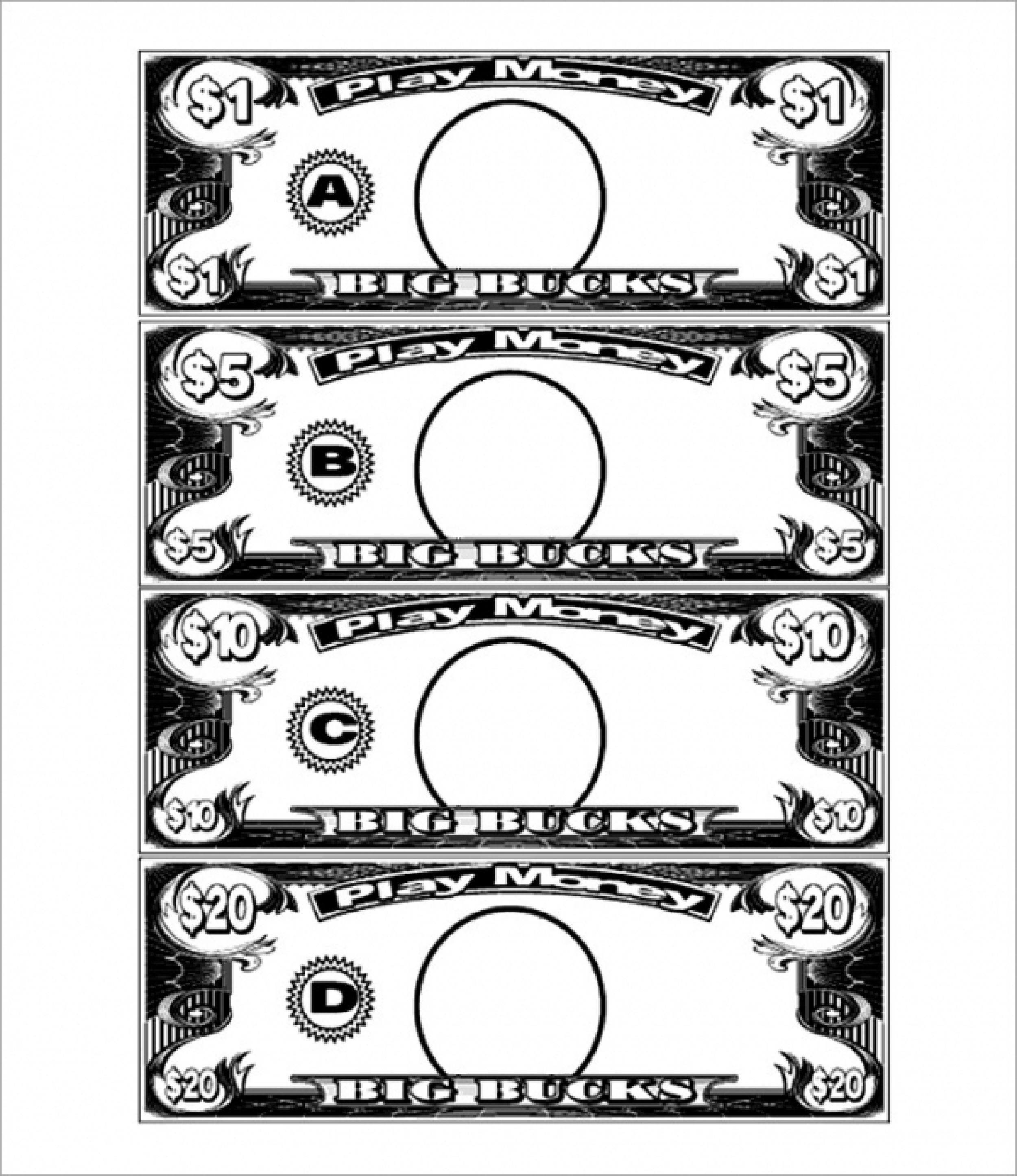 Free 1 Dollar Play Money Template | Templates At - Free Printable Play Money