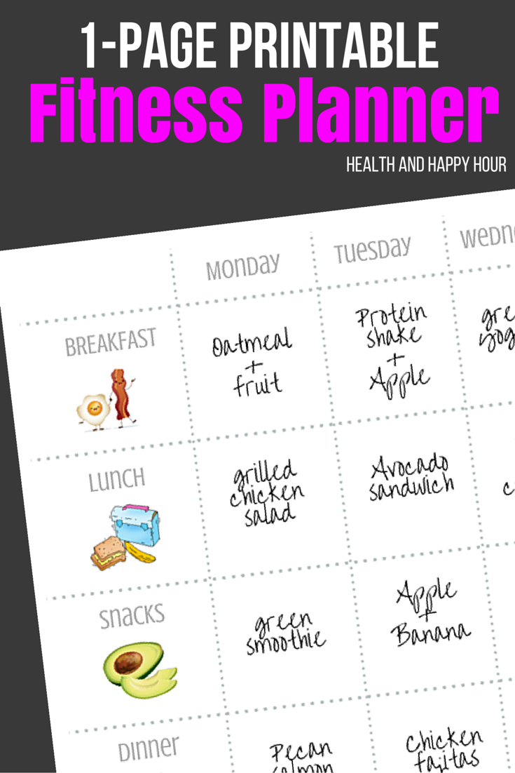 Free 1-Page Printable Fitness Planner | Health And Happy Hour - Free Printable Fitness Planner