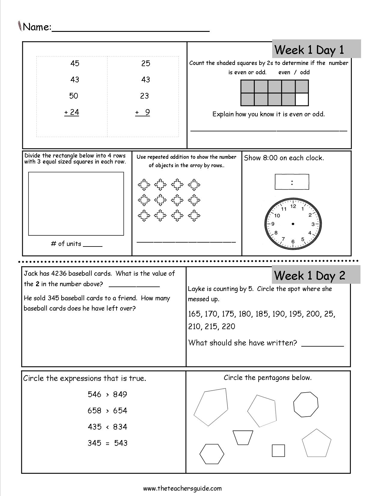 Free 3Rd Grade Daily Math Worksheets - Free Printable Time Worksheets For Grade 3