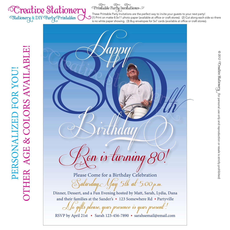 Free 80Th Birthday Invitations Templates   Free Printable - Printable Invitations Free No Download