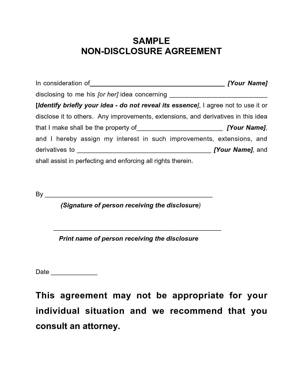 Free Agreement Form Non Disclosure Agreement Sample Free Printable - Free Printable Non Disclosure Agreement Form
