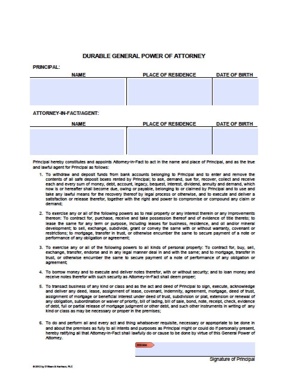 Free Arizona Power Of Attorney Forms In Fillable Pdf | 9 Types - Free Printable Power Of Attorney Form Washington State