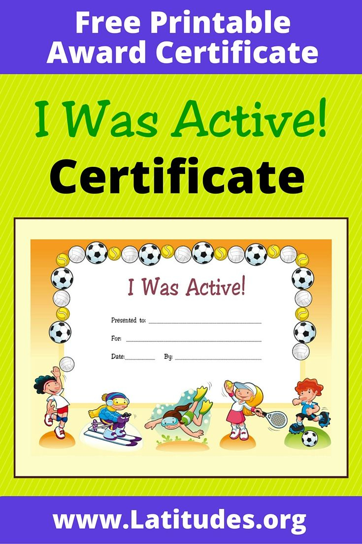 Free Award Certificate - I Was Active (Primary | Managing Recess - Good Behaviour Certificates Free Printable