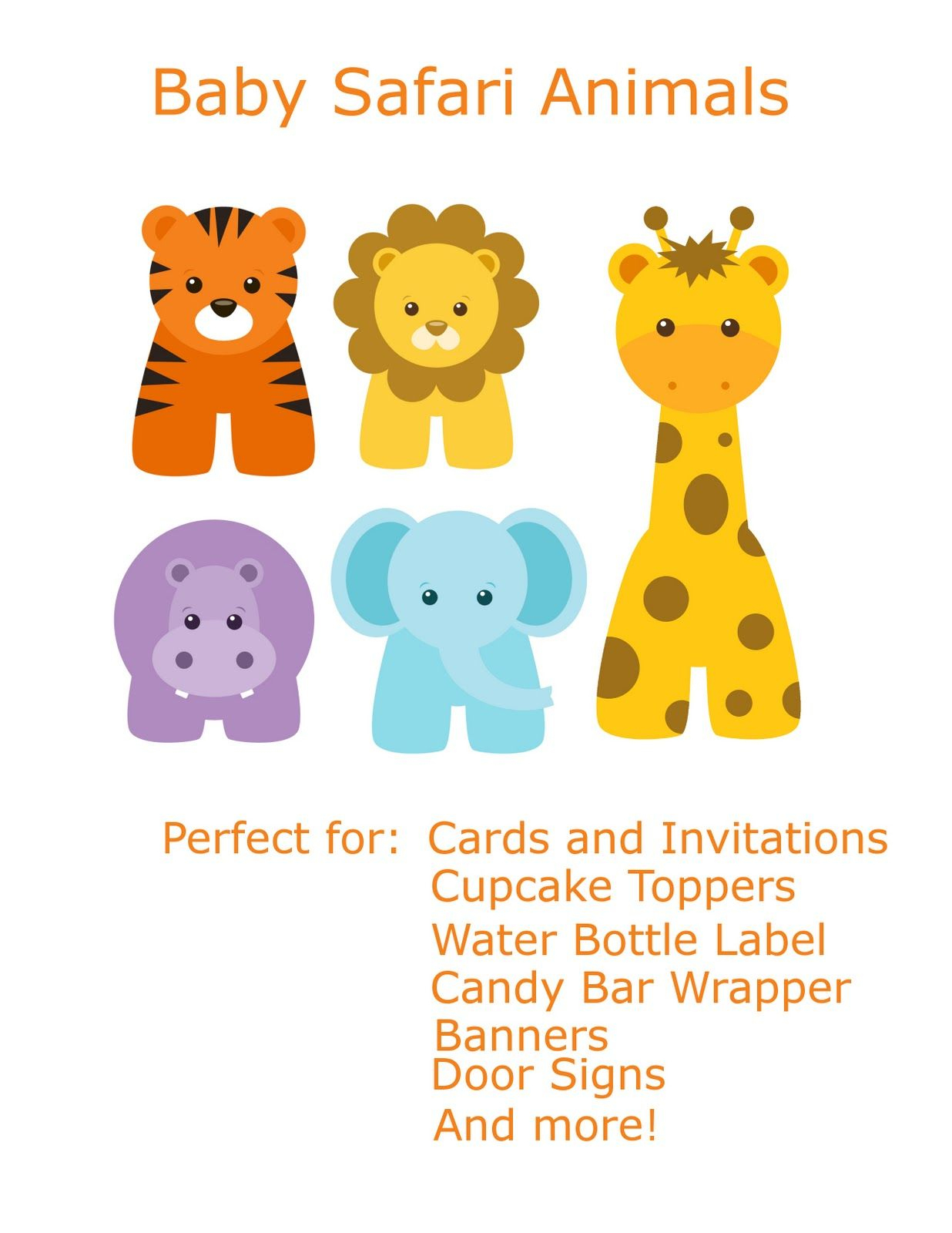 Free Baby Animal Clip Art   Paper Parties: Baby Safari Clip Art - Free Printable Baby Jungle Animal Clipart