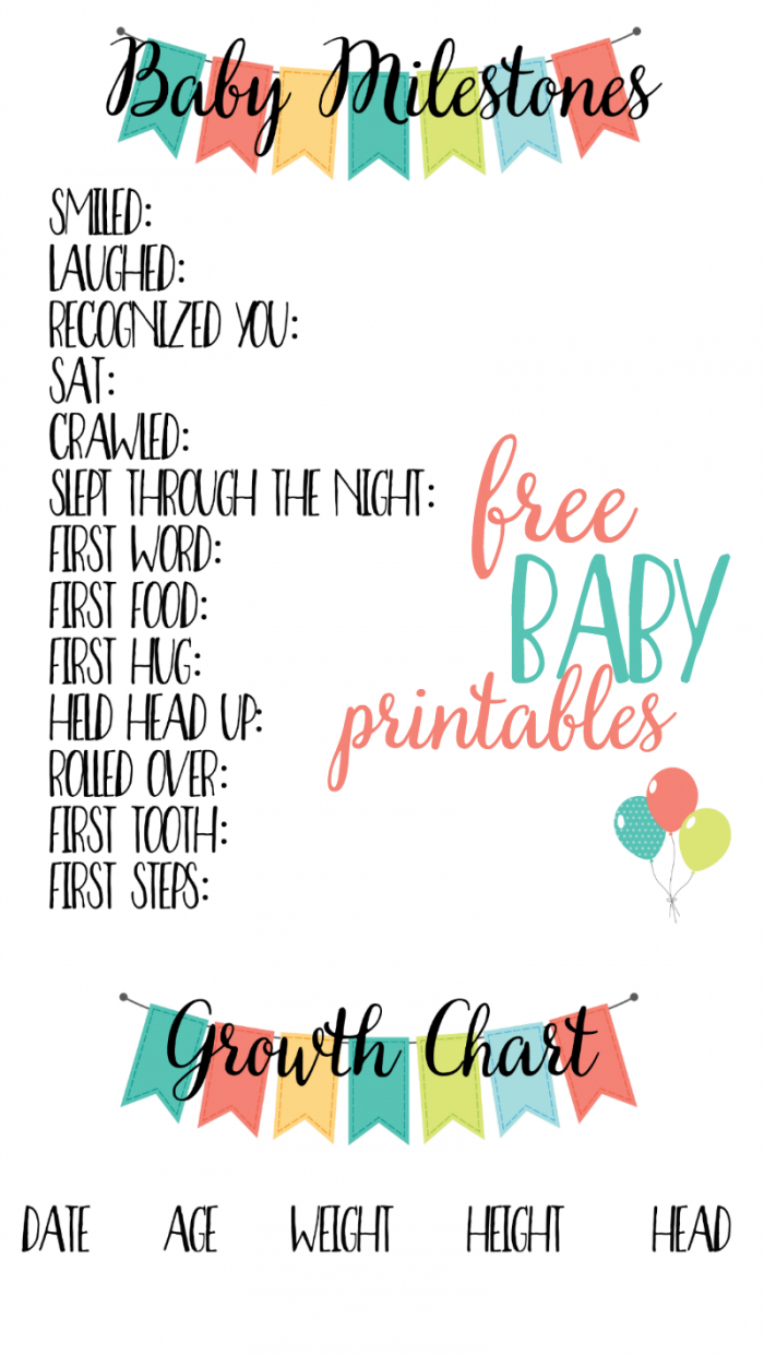 Free Baby Printables: Track Milestones | >> Free Printables - Baby Scrapbook Templates Free Printable