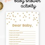 Free Baby Shower Printable – Gold Glitter Wishes For Baby   Instant   Free Printable Baby Registry Cards