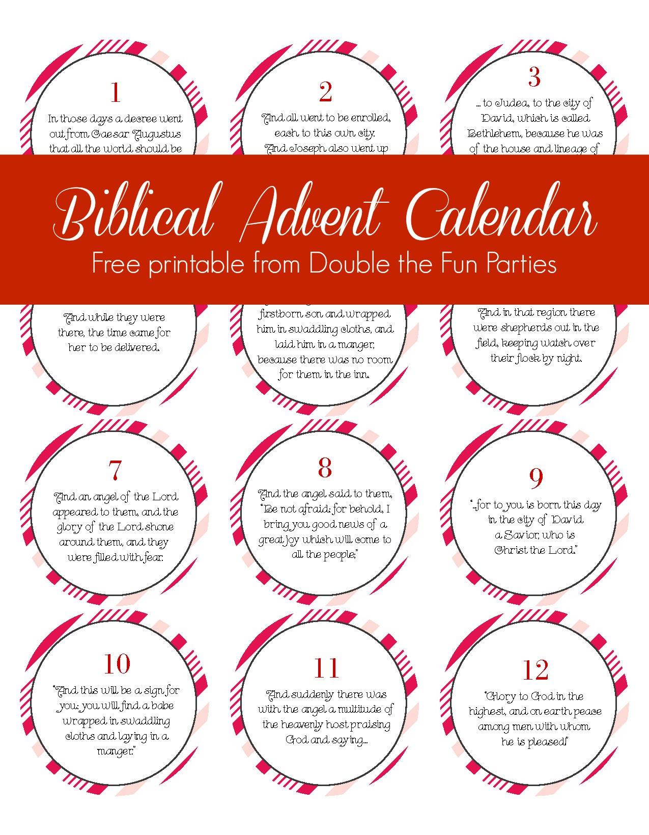 Free Biblical Advent Calendar Printable   The Party Teacher - Free Printable Nativity Story