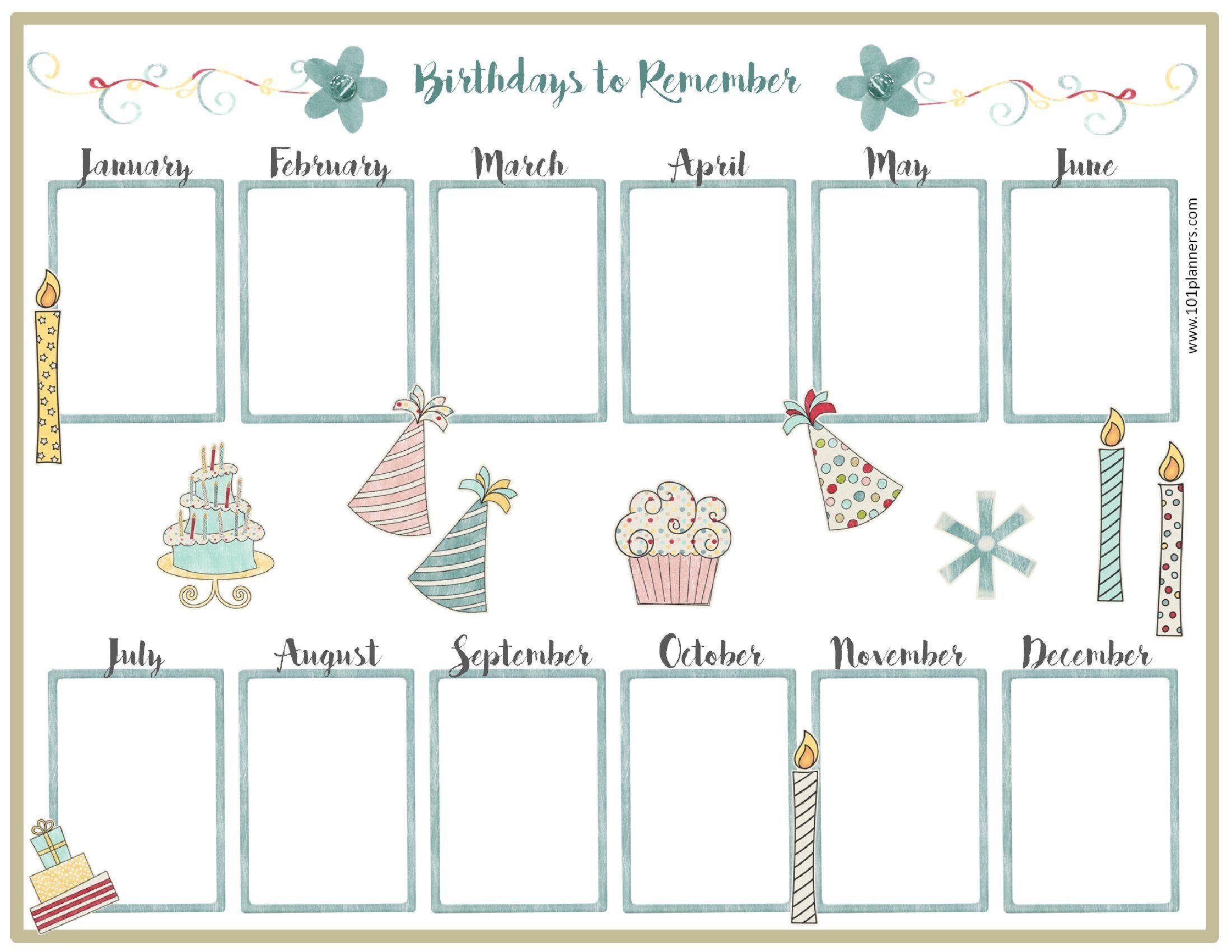 Free Birthday Calendar   Birthday Calendar   Pinterest   Birthday - Free Printable Birthday Graph