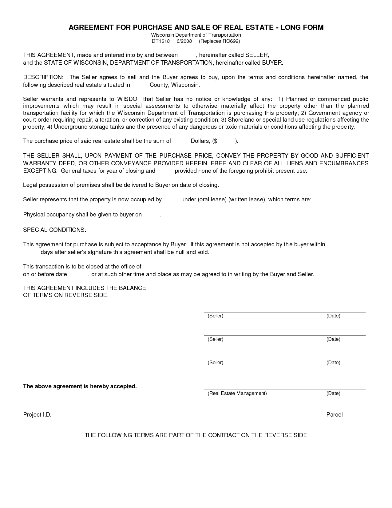 Free Blank Purchase Agreement Form Images - Agreement To Purchase - Free Printable Purchase Agreement Template