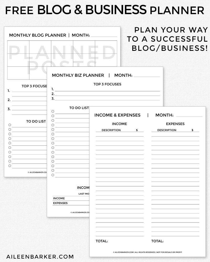 Free Blog And Business Planner Printable   Blogging   Pinterest - Free Printable Business Documents