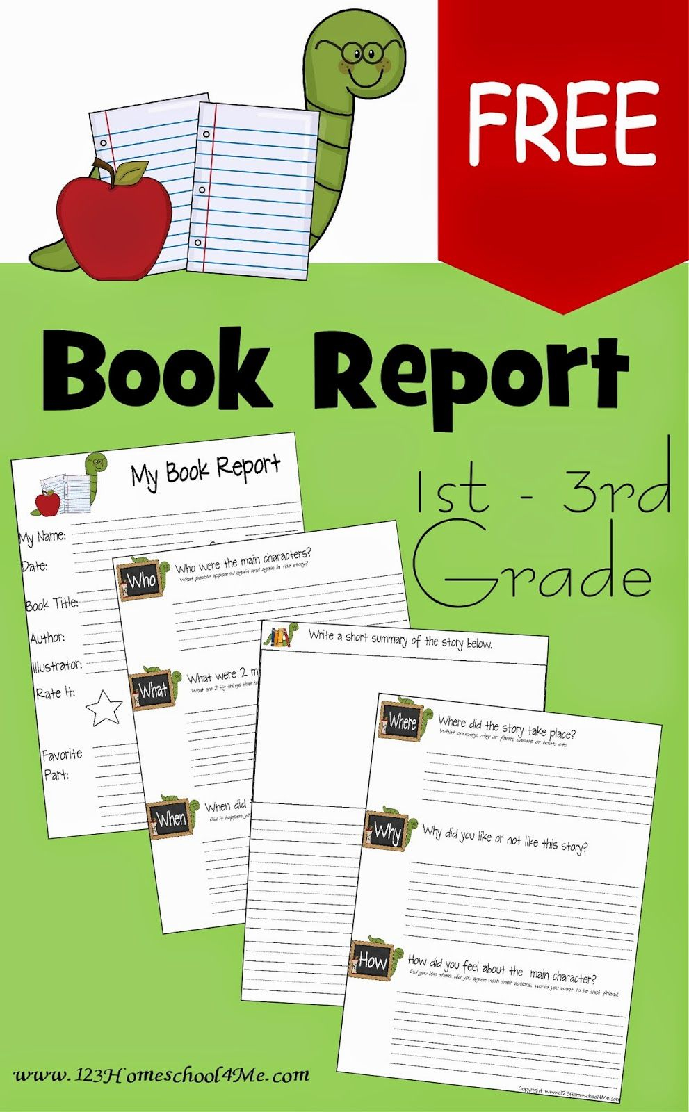 Free Book Report Template   Play Activities For Kids   3Rd Grade - Free Printable Book Report Forms For Second Grade