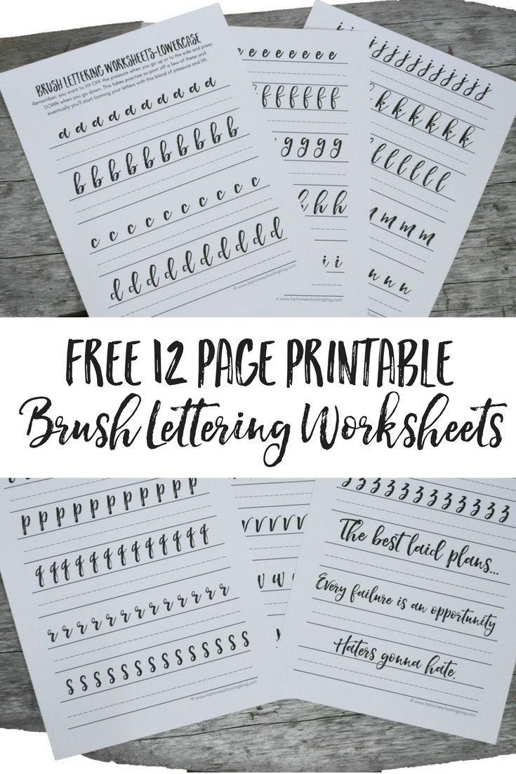 Free Brush Lettering Worksheets   Lettering   Pinterest   Brush - Free Printable Calligraphy Worksheets