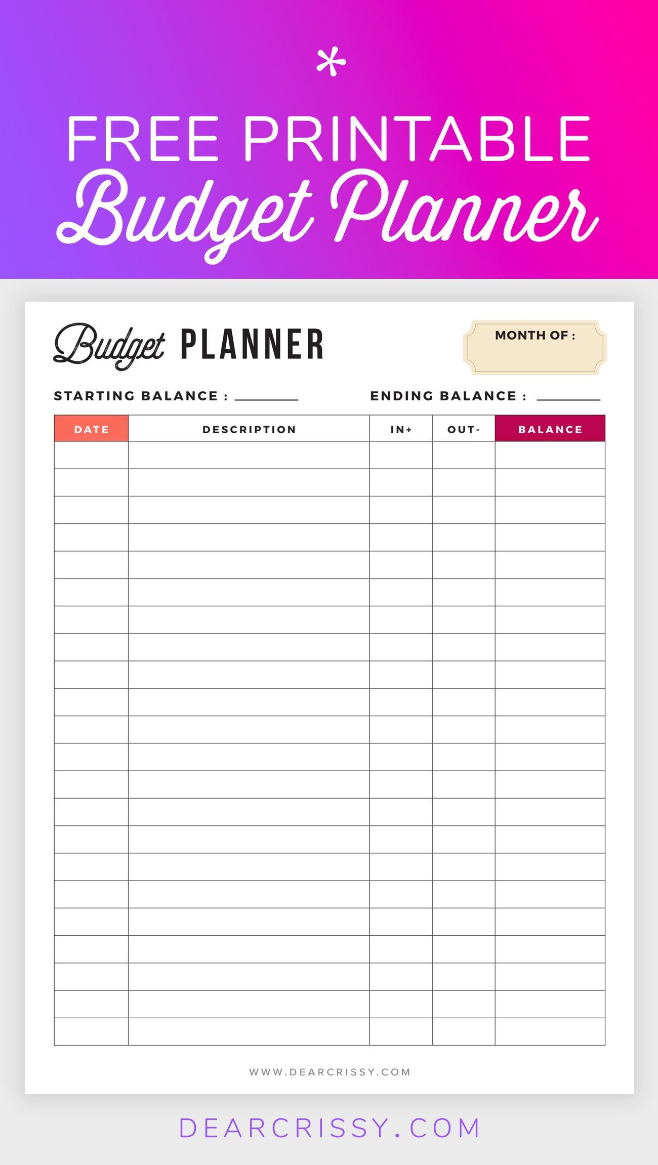 Free Budget Planner Printable - Printable Finance Planner | Office - Free Printable Bill Planner