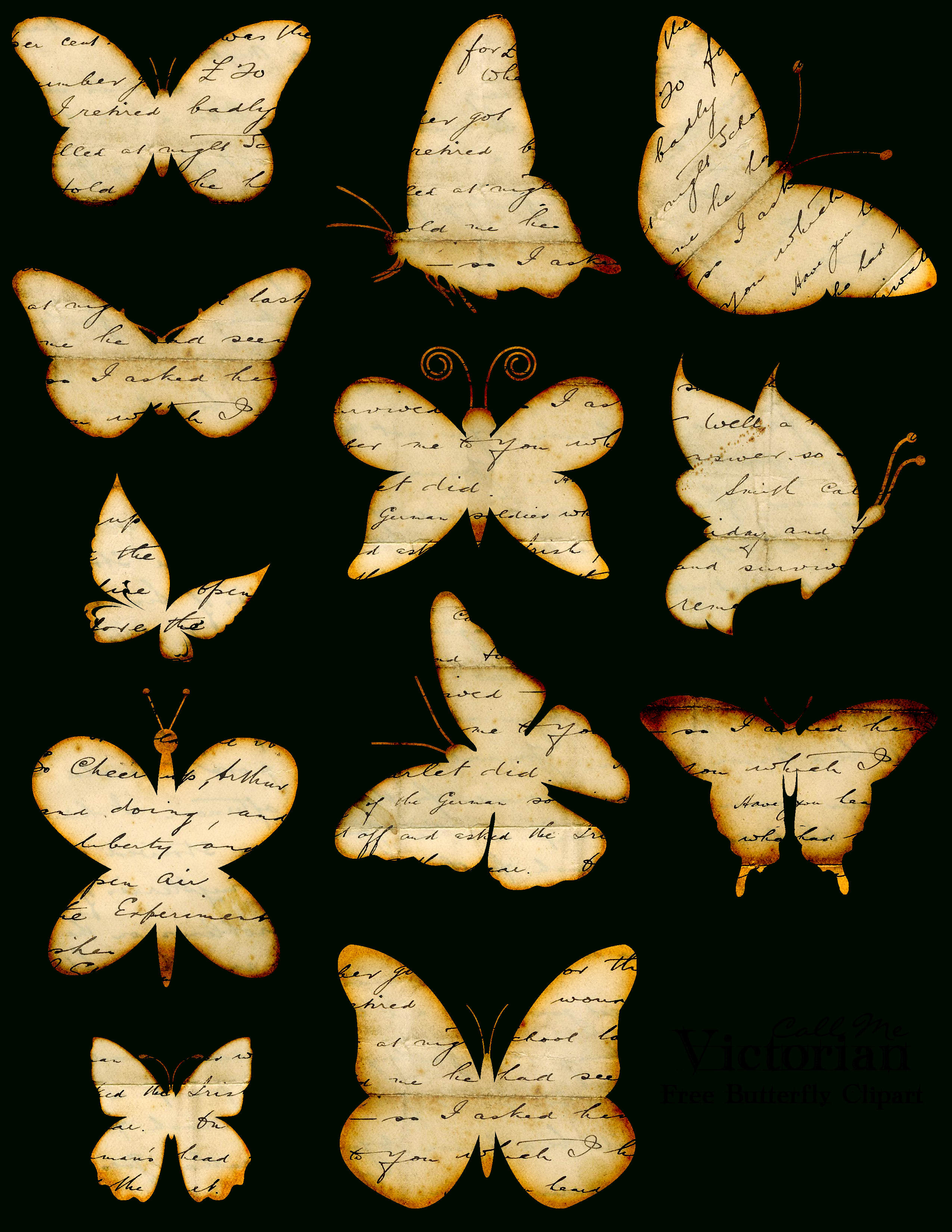Free Butterfly Clipart Images - Distressed Handwriting Overlay - Free Printable Butterfly Clipart