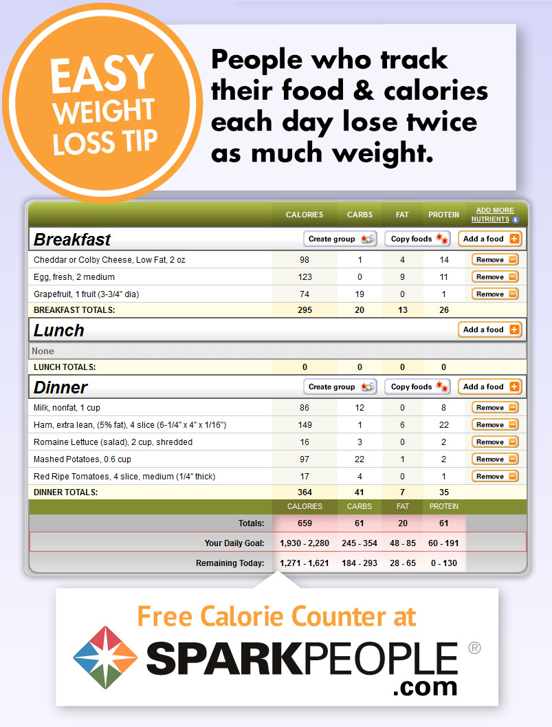 Free Calorie Counter   Sparkpeople - Free Printable Calorie Chart