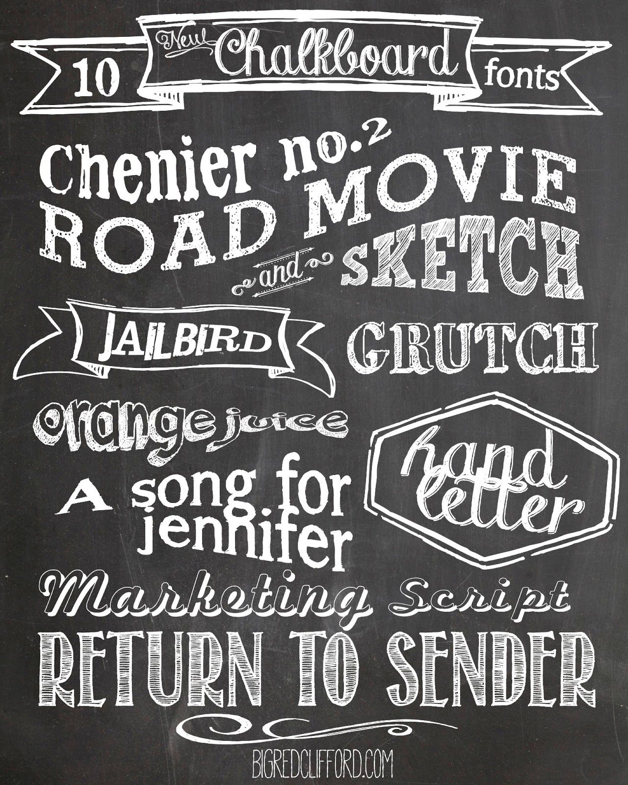 Free Chalkboard Fonts And Free Printable | Chalk And Chalk Marker - Free Printable Fonts