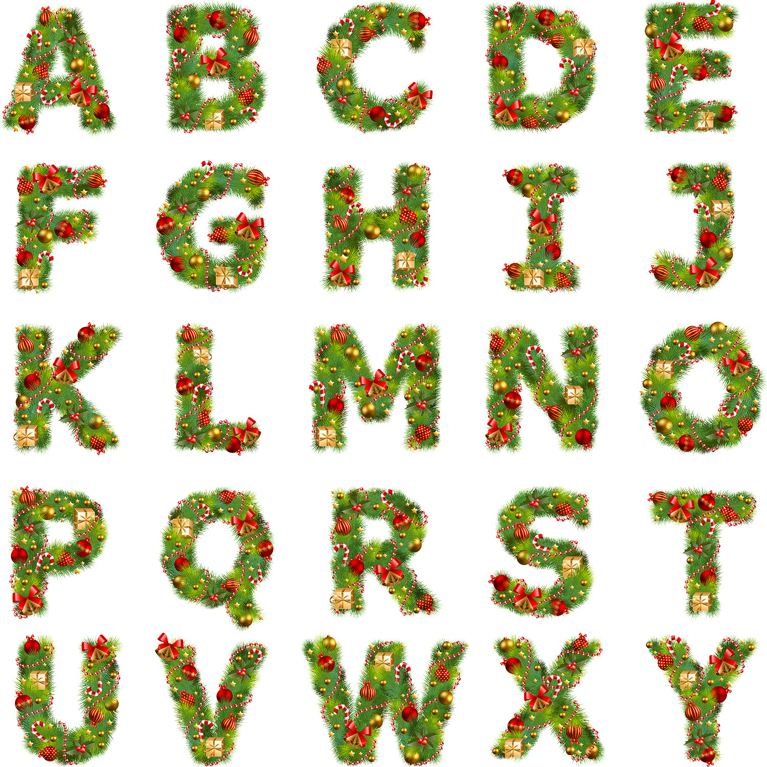 Free Christmas Alphabet Cliparts, Download Free Clip Art, Free Clip - Free Printable Christmas Letters