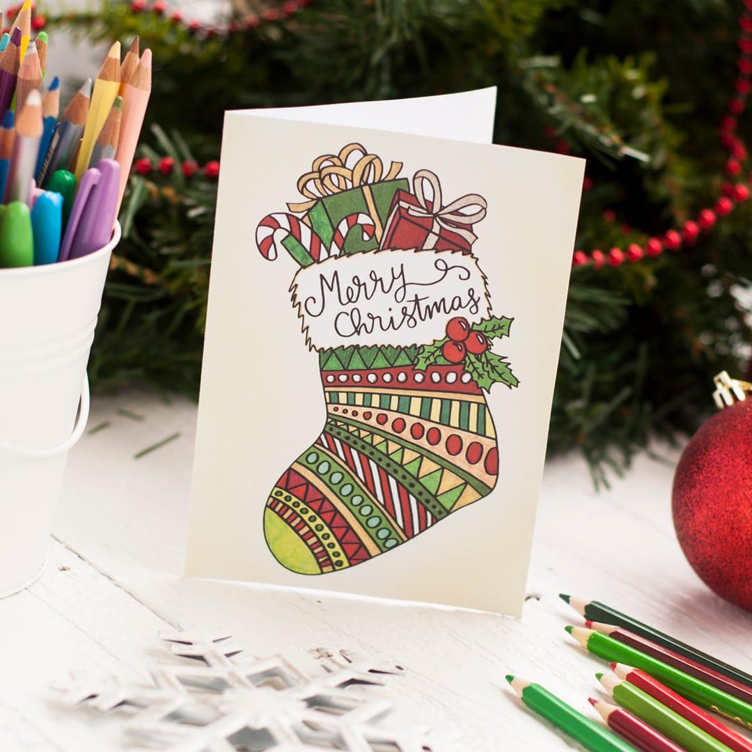 Free Christmas Coloring Card - Sarah Renae Clark - Coloring Book - Make A Holiday Card For Free Printable