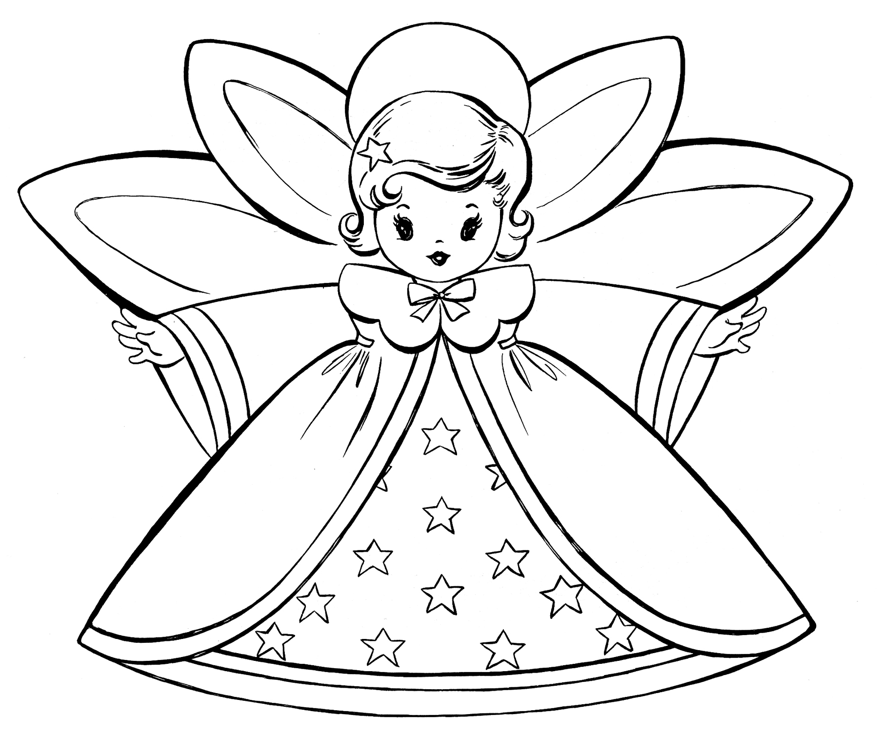 Free Christmas Coloring Pages - Retro Angels - The Graphics Fairy - Free Printable Angels