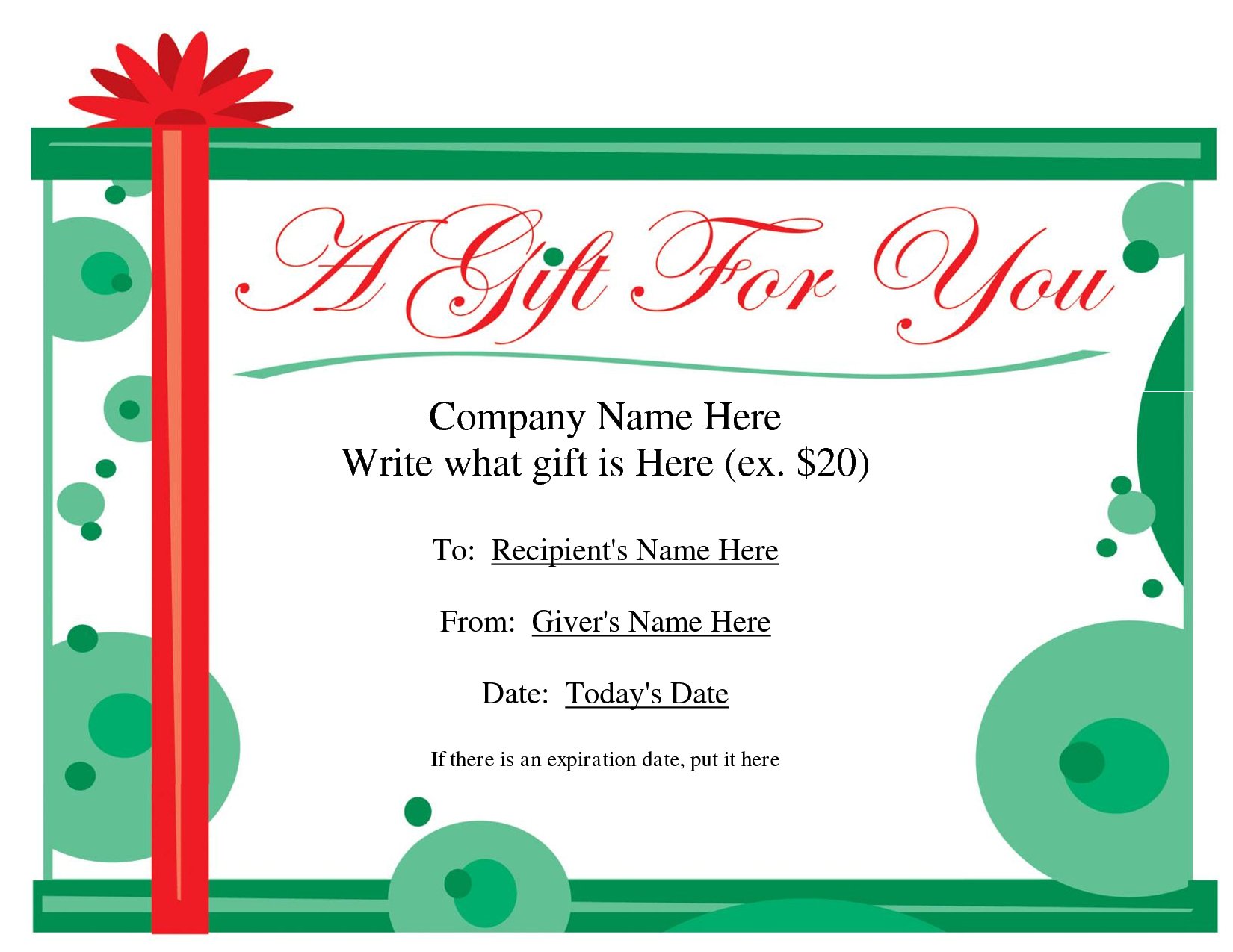 Free Christmas Gift Certificate Templates | Ideas For The House - Free Printable Gift Cards