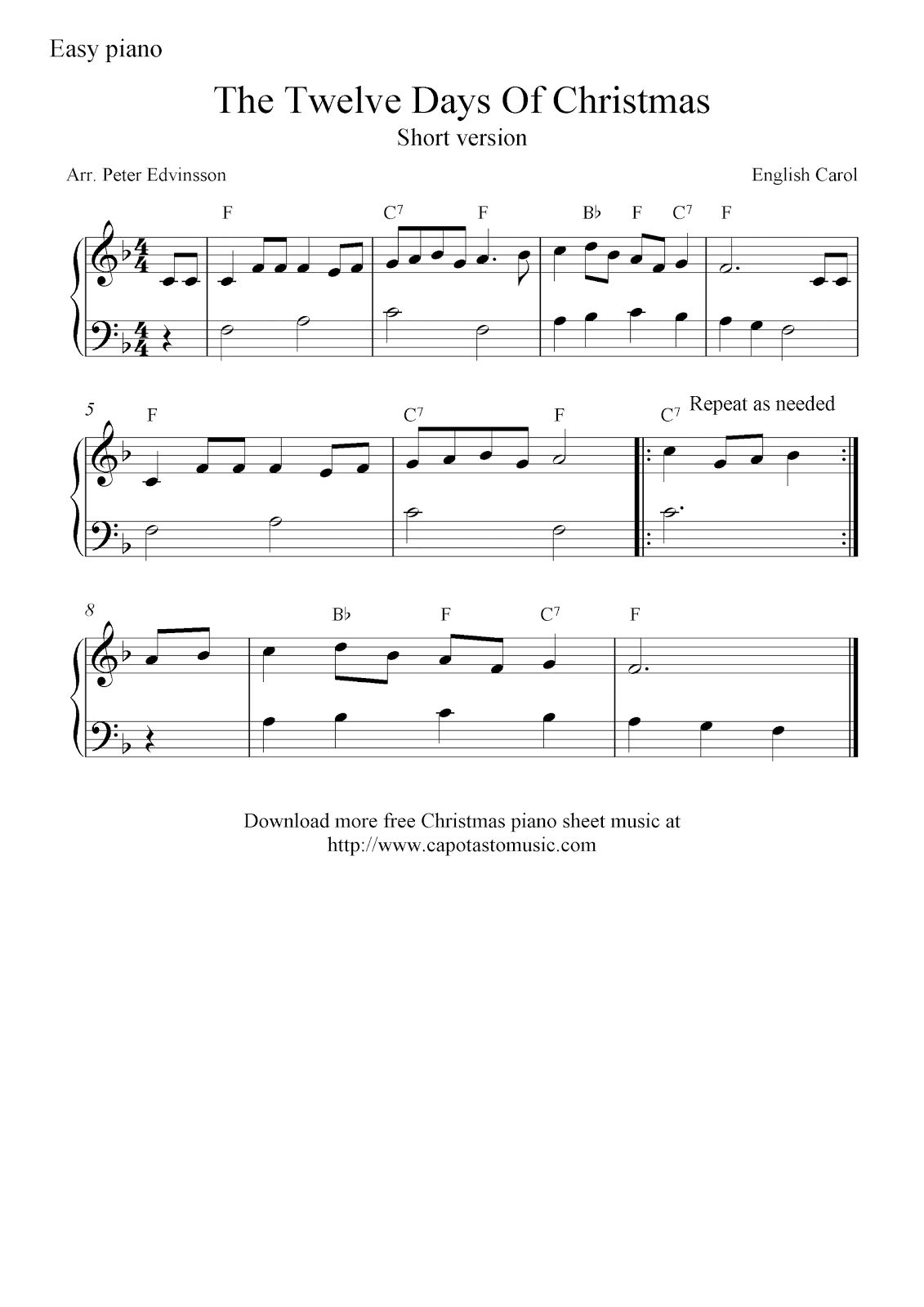 Free Christmas Piano Sheet Music Notes, The Twelve Days Of Christmas - Free Christmas Piano Sheet Music For Beginners Printable