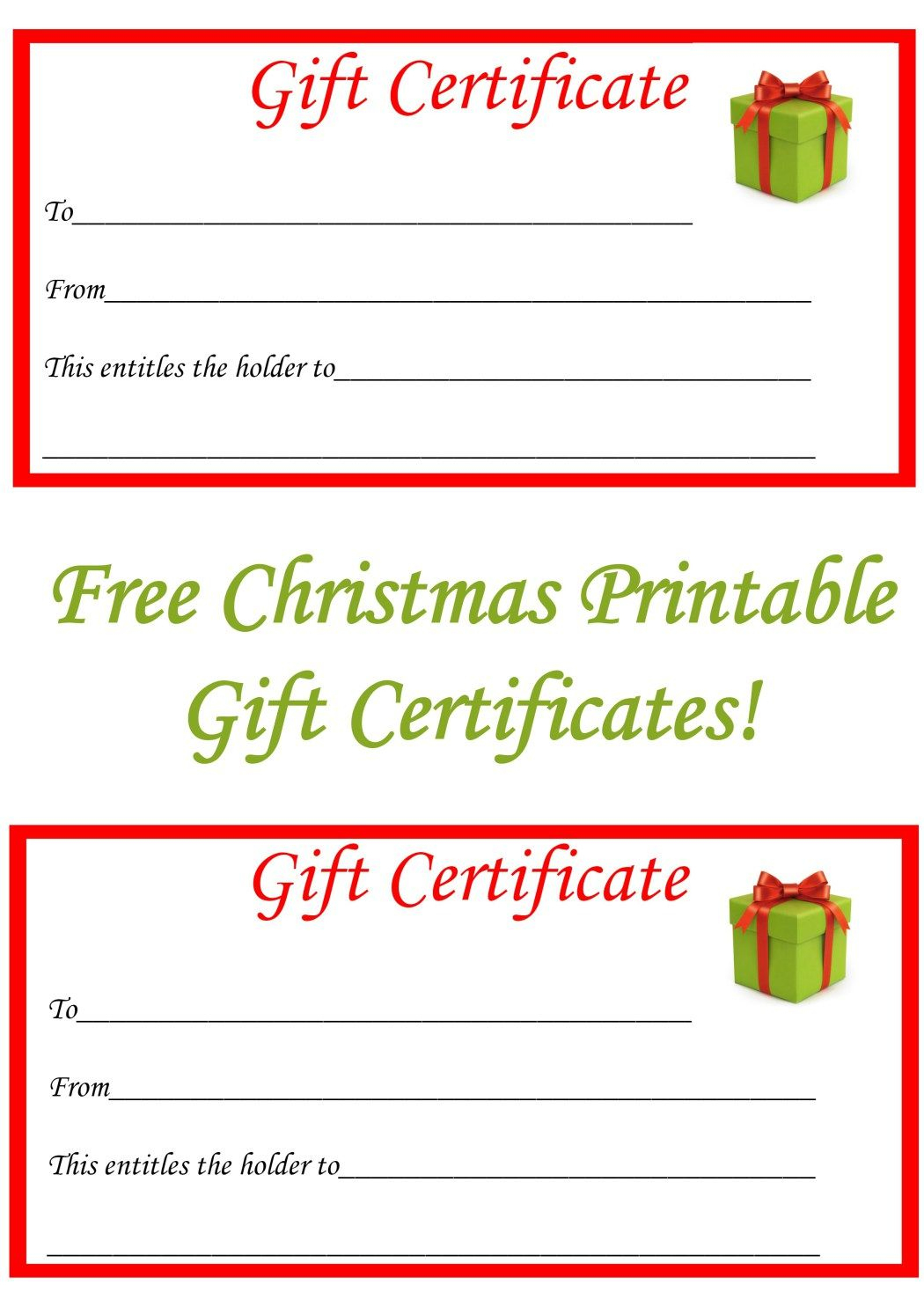 Free Christmas Printable Gift Certificates | Gift Ideas | Pinterest - Free Printable Christmas Gift Voucher Templates