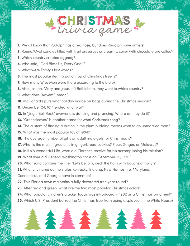 Free Christmas Trivia Game | Lil' Luna - Free Printable Christmas Games For Family Gatherings