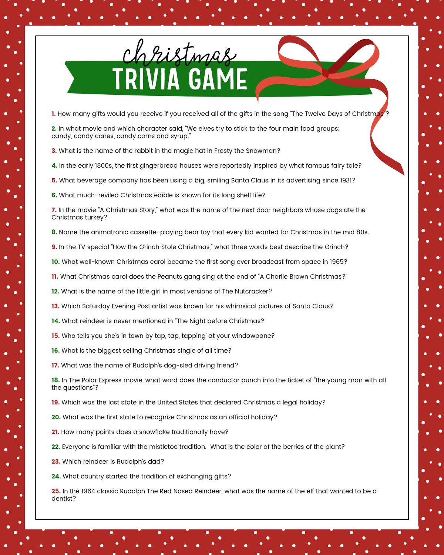 Free Christmas Trivia Game   Lil' Luna - Free Printable Christmas Trivia Quiz