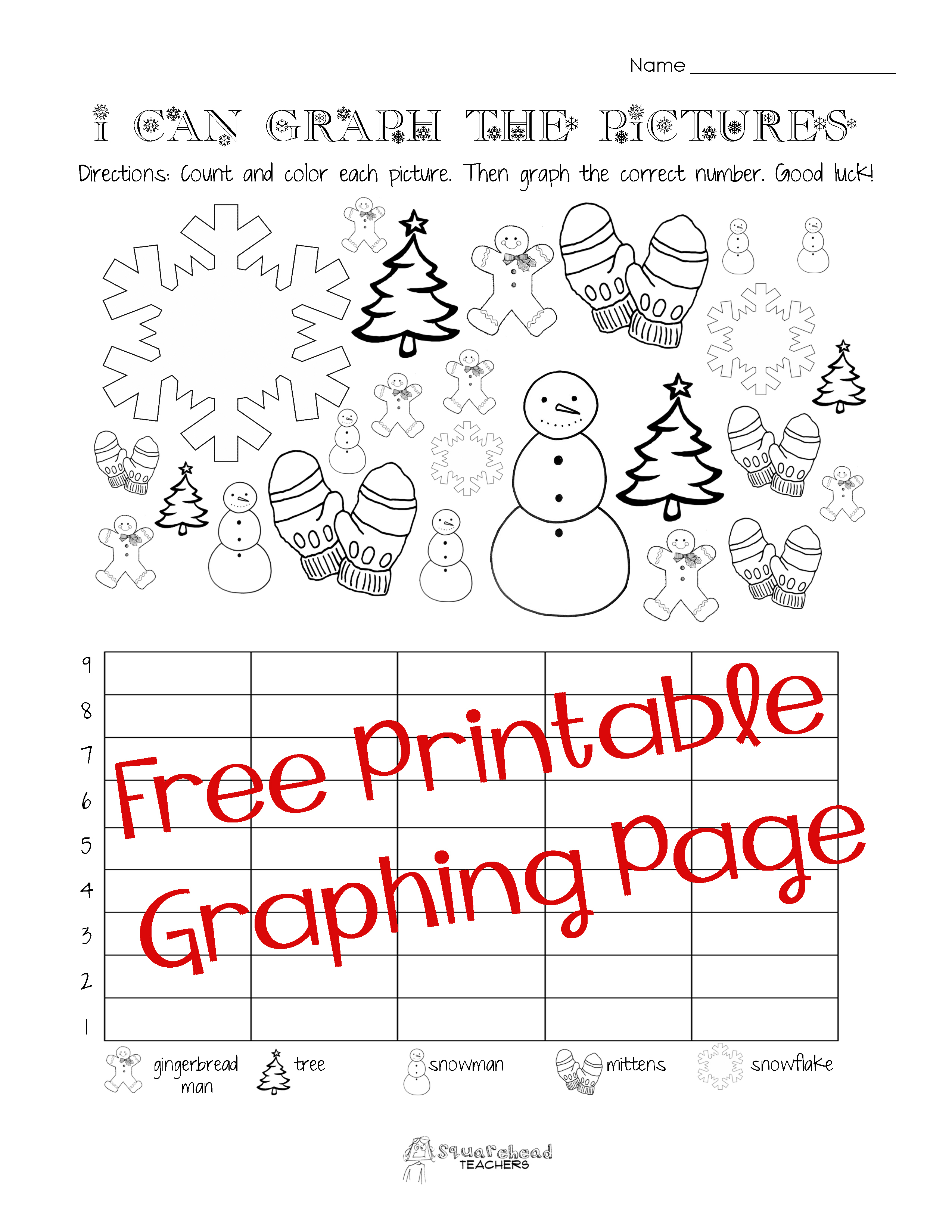 Free Christmas/winter Graphing Worksheet (Kindergarten, First Grade - Free Printable Graphs For Kindergarten