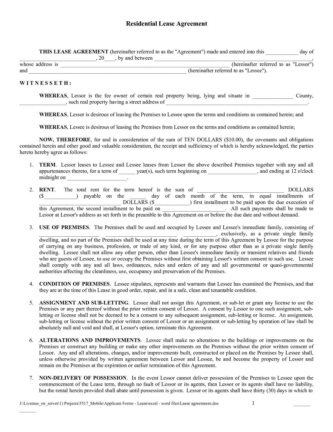 Free Copy Rental Lease Agreement   Free Printable Lease Agreement - Free Printable Rental Application