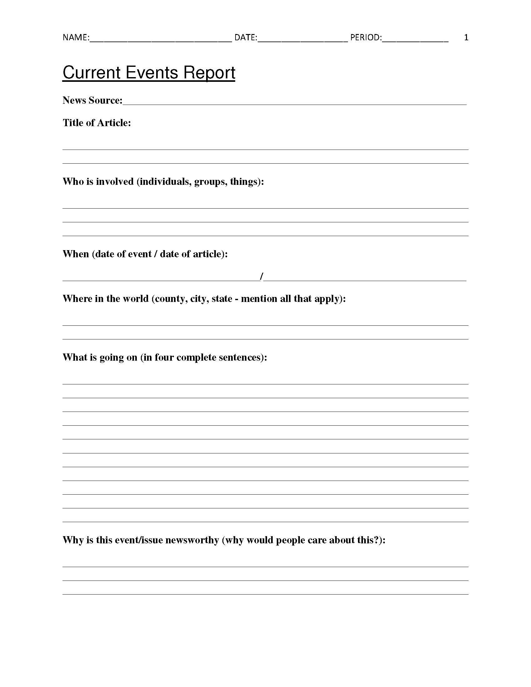 Free Current Events Report Worksheet For Classroom Teachers - Free Printable 8Th Grade Social Studies Worksheets