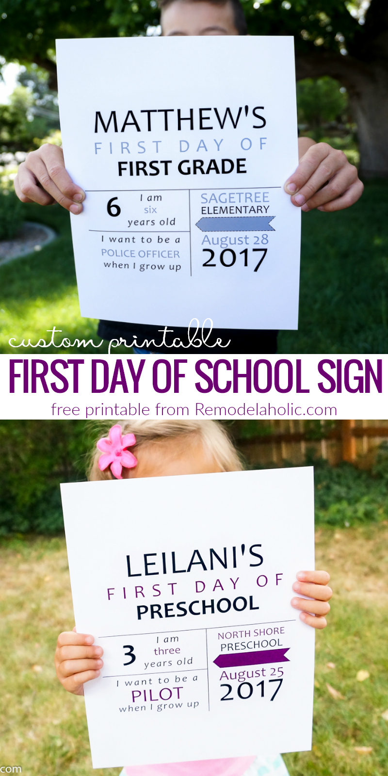 Free Custom Printable First Day Of School Sign + 3 More Printable - Free Printable Custom Signs