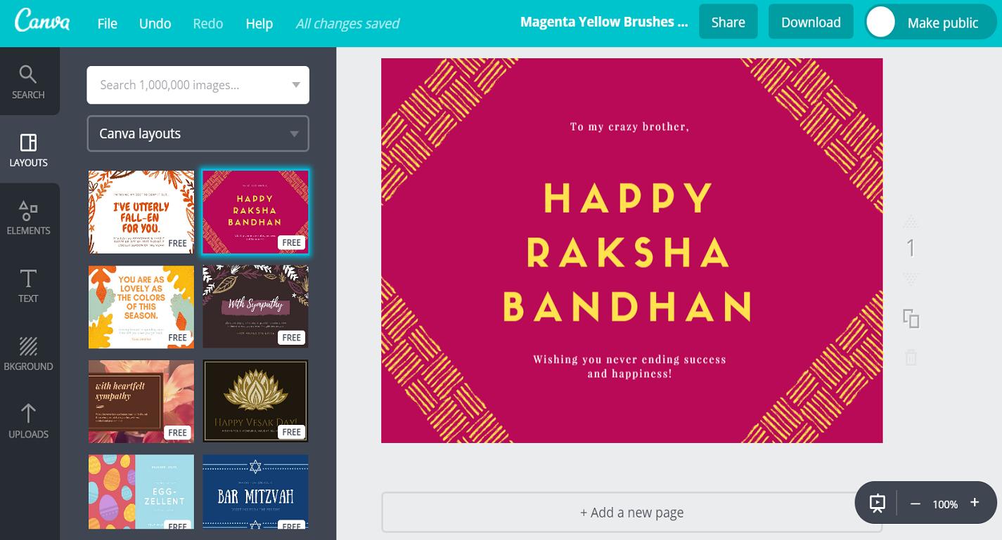 Free Custom Raksha Bandhan Card Designscanva - Free Online Printable Rakhi Cards