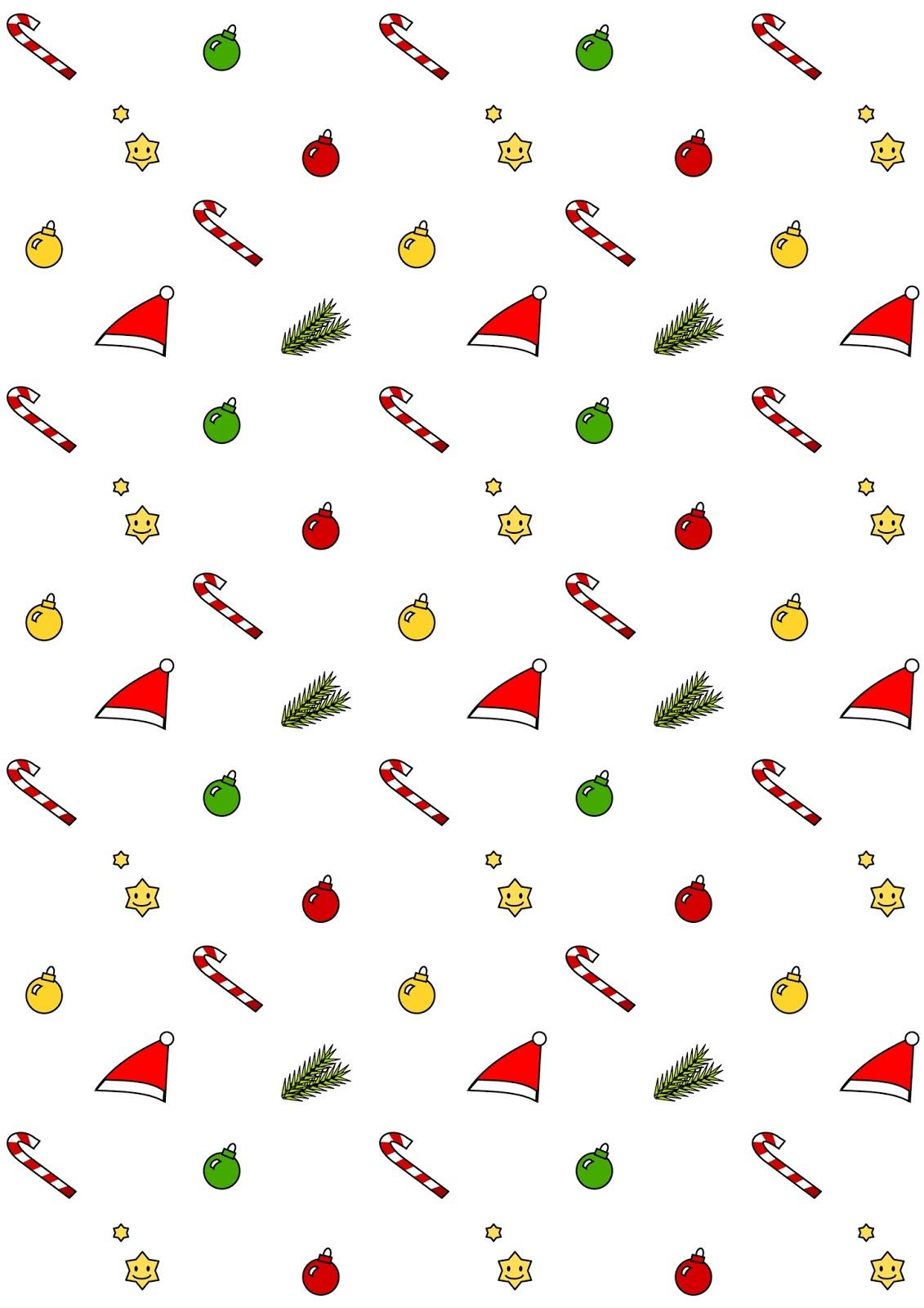 Free Digital Kawaii Christmas Scrapbooking Paper - Ausdruckbares - Free Printable Christmas Paper